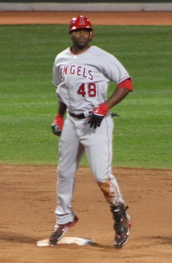 Hunter on second base for the Los Angeles Angels of Anaheim in 2008