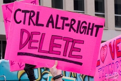 A placard criticising the alt-right displayed at the 2017 Women's March.