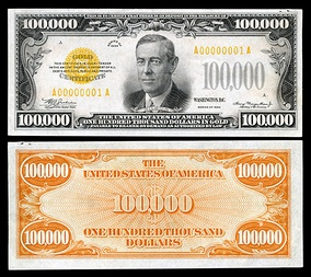 1934 $100,000 gold certificate depicting Wilson.