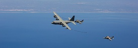 US Marines KC-130 refueling AV-8 Harrier of the Spanish Navy near Morón Air Base
