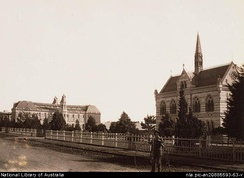 Mitchell Building, University of Adelaide (with man and penny farthing bicycle) & the Mortlock Library, North Terrace, Adelaide (looking West), 1879–1886
