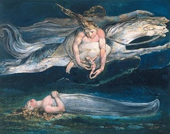 "Pity by William Blake, 1795, Tate Britain, is an illustration of two similes in Macbeth: ""And pity, like a naked new-born babe, Striding the blast, or heaven's cherubim, hors'd Upon the sightless couriers of the air.""[196]"
