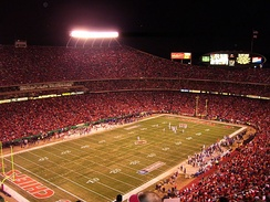 Arrowhead Stadium at night, during the Chiefs' Thanksgiving 2006 game against the Broncos.