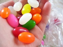 A handful of jelly beans