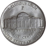 Reverse of a wartime nickel, with the P mintmark of the Philadelphia mint located above Monticello