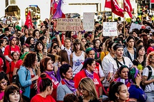 Feminist protesters at the International Women's Strike in  Paraná, Argentina (March, 2019).