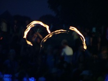 Firetwirling was a popular amateur event at Ashton Court Festival. Image from 2005 festival.