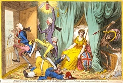 In Britannia between Death and the Doctor's (1804), James Gillray caricatured Pitt as a doctor kicking Addington (the previous doctor) out of Britannia's sickroom.