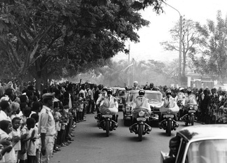 President Hamani Diori and visiting German President Dr. Heinrich Lübke greet crowds on a state visit to Niamey, 1969. Diori's single party rule was characterized by good relations with the west and a preoccupation with foreign affairs.
