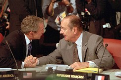 Chirac and George W. Bush during the 27th G8 summit, 21 July 2001