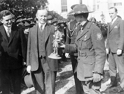 U.S. President Calvin Coolidge greeting 1500 Boy Scouts making an annual trip to the Capitol, 1927