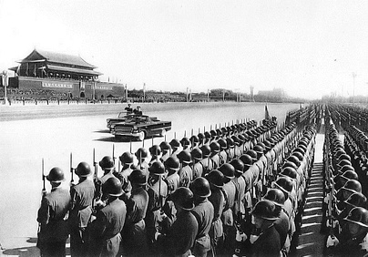 On October 1, 1959, Lin Biao, as defense minister, surveyed the honor guards at the military parade celebrating the 10th anniversary of the founding of the People's Republic of China.