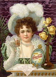 An 1890s advertisement showing model Hilda Clark in formal 19th century attire. The ad is titled Drink Coca-Cola 5¢. (US).