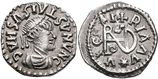 Coin of the Gepids ca. 491-518. Sirmium mint. In the name of Byzantine Emperor Anastasius I.