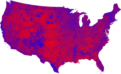 2008 United States presidential election results on the same color spectrum: Barack Obama (D) was elected.