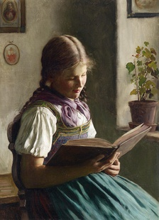 Painting by Emil Rau (1858–1937), Lesendes Mädchen (Girl reading)
