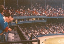 Harwell gets a prolonged standing ovation during his last game in Detroit during the 1991 season