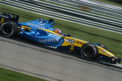 Fernando Alonso driving for Renault at the 2004 United States Grand Prix.