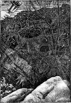 In Holiday's illustration to the final fit of Lewis Carroll's The Hunting of the Snark, the Baker's hidden face and some part of the Boojum can be seen, according to some scholars.[8][58]