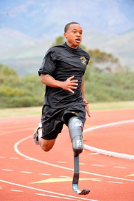 Sgt. Jerrod Fields, a U.S. Army World Class Athlete Program Paralympic sprinter hopeful, works out at the U.S. Olympic Training Center in Chula Vista, Calif. A below-the-knee amputee, Fields won a gold medal in the 100 meters with a time of 12.15 seconds at the Endeavor Games in Edmond, OK, on June 13, 2009