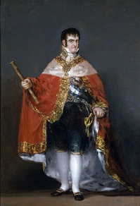 Ferdinand VII of Spain, who abolished the Spanish Constitution of 1812 in 1814. Portrait by Francisco Goya, 1814.