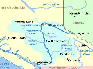 Map showing the Fraser River and its major tributaries.
