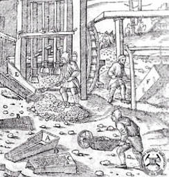 Ore stamp mill (behind worker taking ore from chute). From Georg Agricola's De re metallica (1556)
