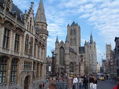 Historical centre of Ghent – from left to right: Old post office, Saint-Nicholas Church, Belfry, and Saint Bavo Cathedral.