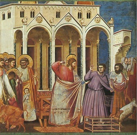 Casting out the Money Changers by Giotto, 14th century.