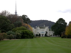 "Government House, Canberra, also known as ""Yarralumla"". It was here that Sir John Kerr dismissed Gough Whitlam as Prime Minister of Australia on 11 November 1975 — the culmination of the 1975 Australian constitutional crisis."