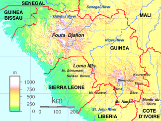 Map of the Guinea Highlands