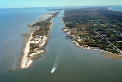 The Gulf Intracoastal Waterway enters Galveston Bay at Port Bolivar, Texas