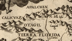 "Detail of Diego Gutiérrez's 1562 map of the Western Hemisphere, showing the first known use of a variation of the place name ""Appalachia"" (""Apalchen"") – from the map Americae sive qvartae orbis partis nova et exactissima descriptio"
