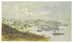 Print of a painting of Auckland port, 1857