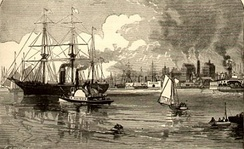 The Hudson River during the 1880s, offshore from Hoboken and Jersey City