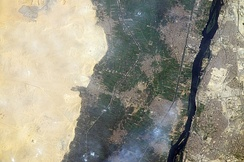 Memphis and its necropolis Saqqara as seen from the International Space Station.