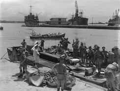 19 September 1942, Allied troops disembarking from a Landing Craft Assault (LCA) in Tamatave harbour
