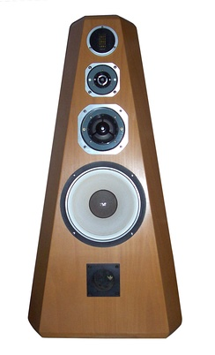 A four-way, high fidelity loudspeaker system. Each of the four drivers outputs a different frequency range; the fifth aperture at the bottom is a bass reflex port.