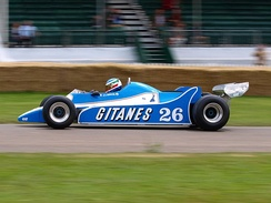 The 1980 Ligier JS11/15 being demonstrated at the 2008 Goodwood Festival of Speed.