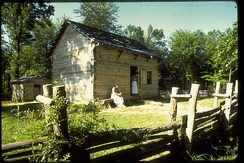 Lincoln Boyhood National Memorial, Indiana. This is a replica of the home that Sarah came to after marrying Thomas Lincoln. It is here that she raised her three children, Thomas' two children and Dennis Hanks, Nancy Hanks Lincoln's cousin.