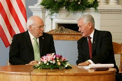 President of Lithuania Valdas Adamkus (right) meets with Vice President Cheney in Vilnius, May 2006