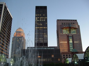 From left to right, BB&T Building, 400 West Market, National City Tower, and the Humana headquarters building in downtown Louisville