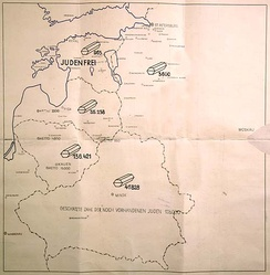 "Map titled ""Jewish Executions Carried Out by Einsatzgruppe A"" from the Stahlecker's report. Marked ""Secret Reich Matter,"" the map shows the number of Jews shot in Ostland, and reads at the bottom: ""the estimated number of Jews still on hand is 128,000"". Estonia is marked as judenfrei."