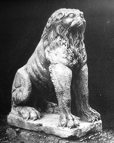 One of the marble lions flanking the entrance to the harbour of the Bucoleon palace.