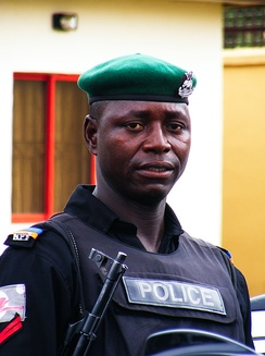 A mobile Policeman in Nigeria