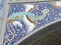 Simurgh (Phoenix) decoration outside of Nadir Divan-Beghi madrasah, Bukhara.