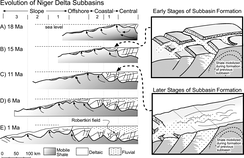 Evolution of Niger Delta subbasins as mobile shales migrate towards the continental slope.