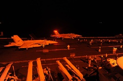 FA-18 Hornets takes off from USS George H.W. Bush to strike ISIL targets in Syria