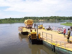 A river boat crossing the Nile in Uganda
