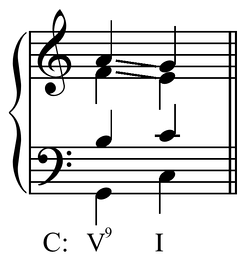 Voice leading for dominant ninth chords in the common practice period.[3] Play (help·info)
